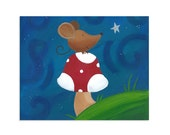 Mouse's Wish - Mouse and Starry Sky Nursery Art Print