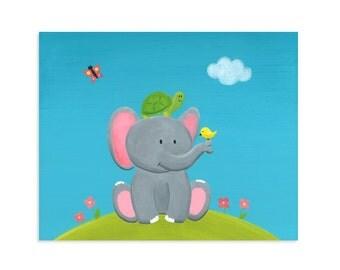 Elephant and Turtle Nursery Print - Stacked Animals Nursery Wall Art