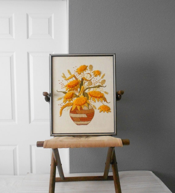 Vintage Sunflower Wall Decor : Vintage large framed sunflower crewel picture by simplychi