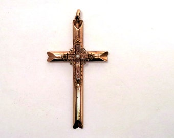 Large Antique Victorian Gold Filled Cross Pendant Etruscan Style Details
