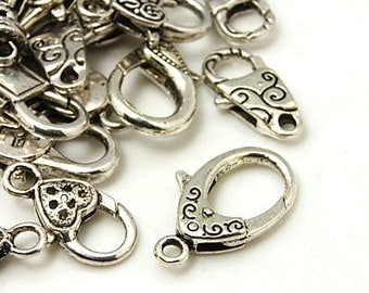 Clasps Antiqued Silver Clasps for Necklaces and Bracelets Assorted Lot Assorted Sizes Lobster Clasps Parrot Clasps
