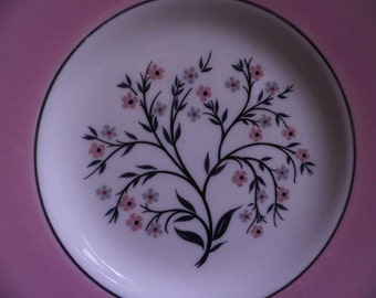 Vintage China Bread Plate, small plate, flowers, pink with silver trim