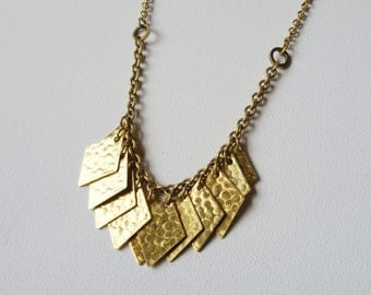 Cleo -  vintage brass diamond fringed necklace