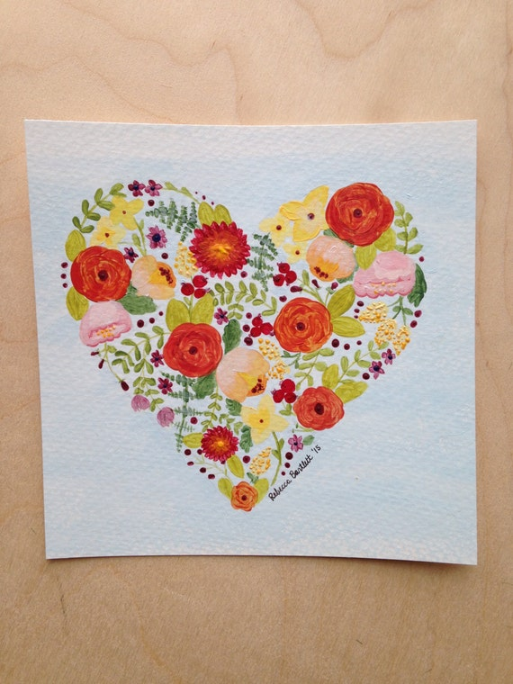 Floral Heart - original painting -
