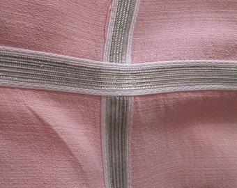 1940's Tablecloth & Napkin Set, Pink and Silver
