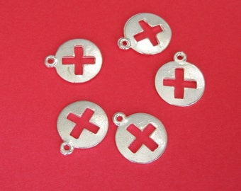 10pcs-Pendant Charm Cross Silver Plated  14mm .