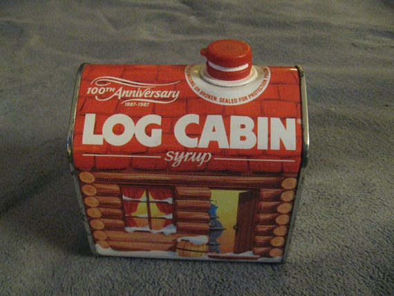 Log cabin syrup tin vintage th anniversary