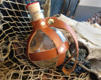 Bottle/Flask, Round Glass Leather-Wrapped, BROWN - Pirate/Steampunk
