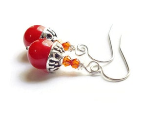 Red Jade Earrings, Swarovski Earrings, Red Magma Earrings, Steel Earrings, Surgical Steel Jewelry, Red Earrings