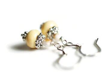 Cream Artisan Lampwork Bead Earring Dangles, Czech Beaded Earrings, Surgical Steel Earrings