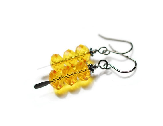 Swarovski Earrings, Sunflower, Gunmetal, Yellow Crystal, Fall, Autumn, Faceted, Bright, Sun, Briolettes, Paddle