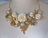 Statement Necklace, Vintage Brooch, Gold, Ivory, Celluloid, Collage, Bib, Unique, Hand Wired, Upcycled, Jennifer Jones, OOAK - Rose Garden