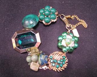 Bridesmaid Gift, Wedding, Vintage Earring Bracelet, Reclaimed, Charm, Cluster, Emerald, Gold, Jennifer Jones, Under 40 - Green with Envy