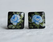 Blue Japanese Rose Earrings ... Vintage