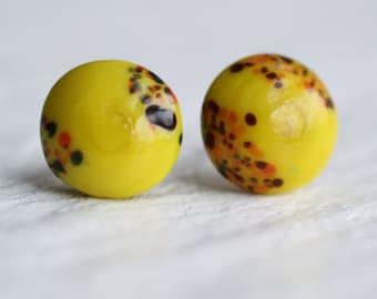 Yellow Toadstool Earrings ... Vintage Glass Handmade Stud Post Earrings