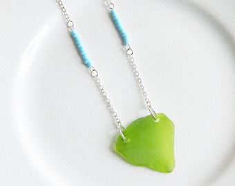 Lime Green Sea Glass Necklace, Genuine Beach Glass Pendant, Aqua Blue Seed Beads, Neon Layering Boho Necklace, Summer Tribal Jewelry