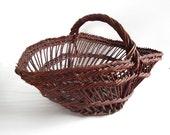 Vintage French Handmade Gathering Basket