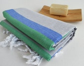 SALE 70 OFF/ Turkish Beach Bath Towel / Classic Peshtemal / Gray Blue Turquoise / Wedding Gift, Spa, Swim, Pool Towels and Pareo