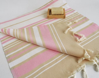 SALE 50 OFF/ SET 2 Towels / Head and Hand Towel / Beige - Pink Striped