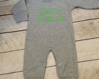 Monogrammed boys romper, personalized, coming home outfit, boy-girl, newborn, infant, baby, newborn pictures, photo outfit
