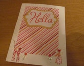 Sweet Cat Hello Greeting Card -- pink, orange, gold