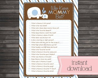 Blue Elephant Baby Shower Who Knows Mommy Best Printable - Brown Blue Baby Shower Games - Instant Download - Boy Baby Shower Game