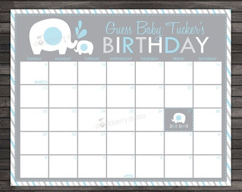 Elephant Baby Shower Guess the Due Date Calendar Printable - Birthday Prediction Calendar - Boy Baby Shower Game - Blue and Gray Baby Shower