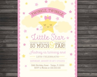 Twinkle Twinkle Little Star First Birthday Invitation Printable - Twinkle Twinkle Little Star Birthday - Pink Yellow Girl 1st Birthday