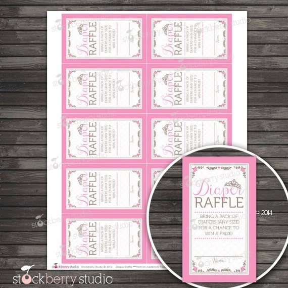 princess baby shower diaper raffle tickets printable instant