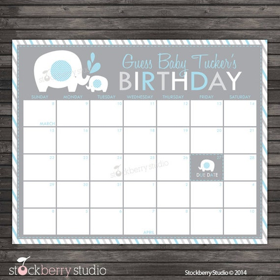Elephant Baby Shower Guess the Due Date Calendar Printable - Birthday ...