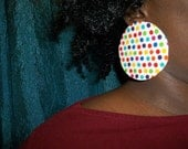 "Polka dot colorful fabric print stud earrings basketball wives love hip hop pink red yellow blue green purple jewelry jewellery Big 3"" round"