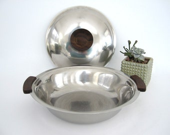 Vintage Metal Serving Dish with Lid Stelton Stainless Danish Modern Large Covered Bowl Denmark Wood Handles