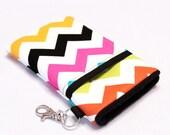 Custom fabric cell phone holder, iPhone 6 6s Plus, iPhone 7 plus, 5 5s 5c 4s smartphone, wallet, case, purse, sleeve, pouch-Rainbow Chevron