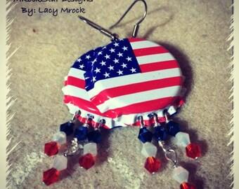 American flag bottle too earrings