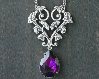 Amethyst Purple Crystal Vine Necklace