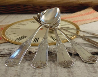 Antique Sterling Silver Set of 6 Spoons / Flatware / Teaspoons / Cereal Spoons / Joseph Seymour
