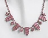 Pink Satin Glass Rhinestone Choker Necklace, Moonglow Art Deco, Mauve Pink Berry Colors Prong Set Silver Tone