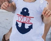 Personalized Light Blue and White Seersucker Shortall Jon Jon with Split Anchor Applique with Name