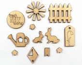 Spring Wood Craft Shapes, Fresh New World Wood Veneer Shapes, Bunny Wood Shapes, Garden Scrapbook Embellishments, Wood Sun Shape, Craft