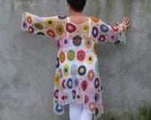 blouse top shirt lagenlook Cotton Plus Size Handcrocheted Tunic / Sweater XXL...XXXL -  colorful