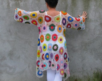 blouse top shirt lagenlook Cotton Plus Size Handcrocheted Tunic / Sweater XXL...XXXL -  colorful