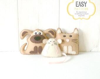 Kitten Puppy & Mouse Mini Pattern, Stuffed Kitten Patten, Plush Puppy Pattern, Felt Kitten, Felt Puppy, Felt Mouse