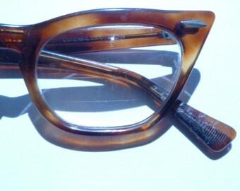 Rare Brown Cat Eye Horn Rims 1950s