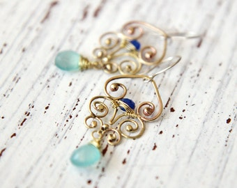 Brass Filigree earrings with blue chalcedony beads