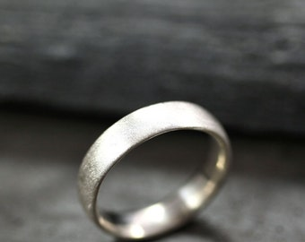 Mens Silver Wedding Band, Matte 5mm Wide Unisex Recycled Argentium Sterling Silver Comfort Fit Ring Men's Ring - Made in Your Size