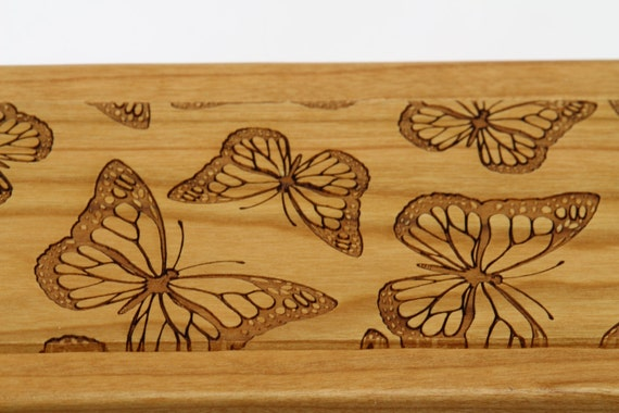 Butterfly Laser Engraved, Medium Depth, Wooden Vitamin/Medication Box, Weekly Organizer, Pattern V7, Paul Szewc