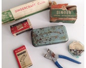 Lot of Singer Sewing Accessaries with Tin Box