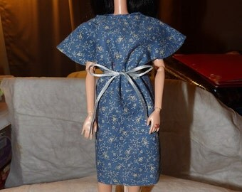 Modest blue floral bat wing dress for Fashion Dolls - ed672