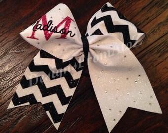 Black and White Chevron Monogrammed Cheer Bow