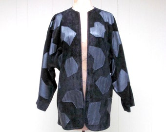 Vintage 1980s Jacket / 80s Jean Muir Black Suede Leather Patchwork Jacket Wearable Art / Medium - Large